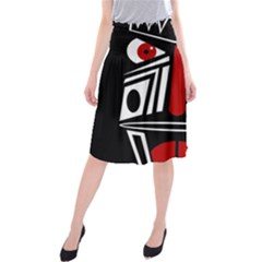 African Red Mask Midi Beach Skirt by Valentinaart