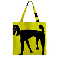 Black Dog Zipper Grocery Tote Bag by Valentinaart