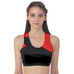 Red And Black Abstract Design Sports Bra by Valentinaart