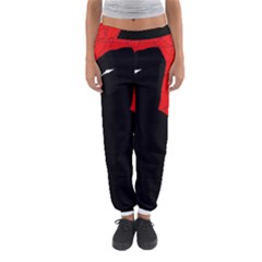 Red And Black Abstract Design Women s Jogger Sweatpants by Valentinaart