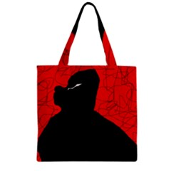 Red And Black Abstract Design Zipper Grocery Tote Bag by Valentinaart