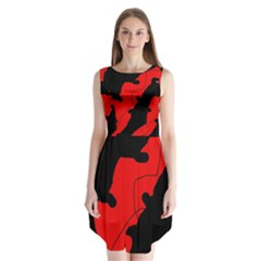 Black And Red Lizard  Sleeveless Chiffon Dress   by Valentinaart
