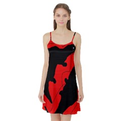 Black And Red Lizard  Satin Night Slip by Valentinaart