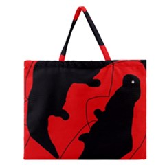 Black And Red Lizard  Zipper Large Tote Bag by Valentinaart