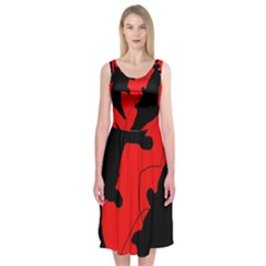 Black And Red Lizard  Midi Sleeveless Dress by Valentinaart