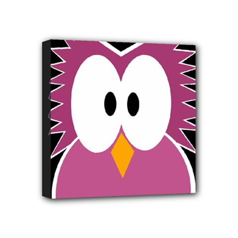Pink Owl Mini Canvas 4  X 4  by Valentinaart