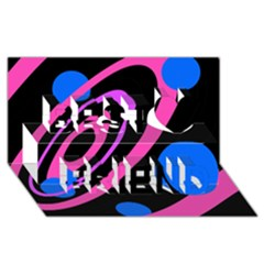 Pink And Blue Twist Best Friends 3d Greeting Card (8x4)
