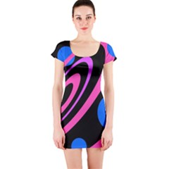 Pink And Blue Twist Short Sleeve Bodycon Dress by Valentinaart
