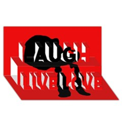 Red And Black Abstraction Laugh Live Love 3d Greeting Card (8x4)