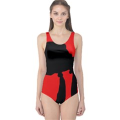 Red And Black Abstraction One Piece Swimsuit by Valentinaart