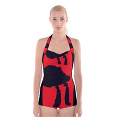 Red And Black Abstraction Boyleg Halter Swimsuit  by Valentinaart