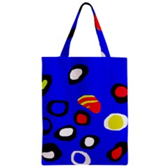 Blue Pattern Abstraction Zipper Classic Tote Bag by Valentinaart