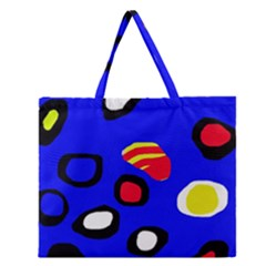 Blue Pattern Abstraction Zipper Large Tote Bag by Valentinaart