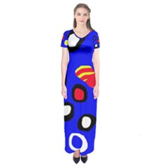 Blue Pattern Abstraction Short Sleeve Maxi Dress by Valentinaart