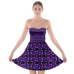 Dots Pattern Purple Strapless Dresses by BrightVibesDesign