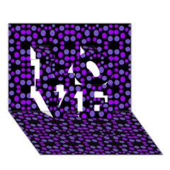 Dots Pattern Purple Love 3d Greeting Card (7x5)