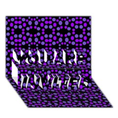 Dots Pattern Purple You Are Invited 3d Greeting Card (7x5) by BrightVibesDesign