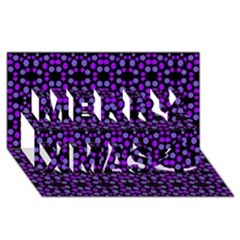 Dots Pattern Purple Merry Xmas 3d Greeting Card (8x4) by BrightVibesDesign
