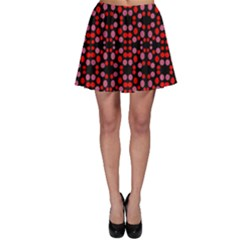 Dots Pattern Red Skater Skirt by BrightVibesDesign