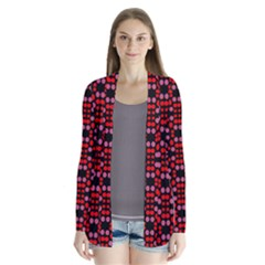 Dots Pattern Red Drape Collar Cardigan by BrightVibesDesign