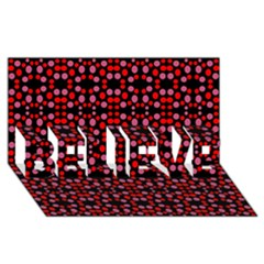 Dots Pattern Red Believe 3d Greeting Card (8x4) by BrightVibesDesign