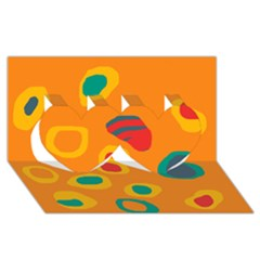 Orange Abstraction Twin Hearts 3d Greeting Card (8x4) by Valentinaart