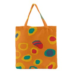 Orange Abstraction Grocery Tote Bag by Valentinaart