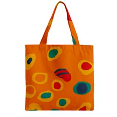 Orange Abstraction Zipper Grocery Tote Bag by Valentinaart