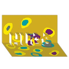 Yellow Abstraction Hugs 3d Greeting Card (8x4) by Valentinaart