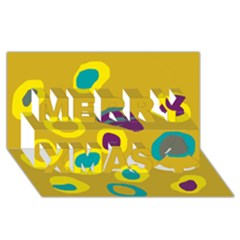 Yellow Abstraction Merry Xmas 3d Greeting Card (8x4) by Valentinaart