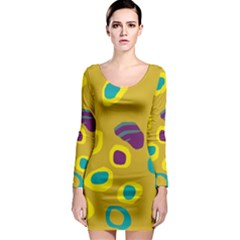 Yellow Abstraction Long Sleeve Bodycon Dress by Valentinaart