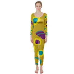 Yellow Abstraction Long Sleeve Catsuit by Valentinaart