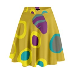 Yellow Abstraction High Waist Skirt by Valentinaart