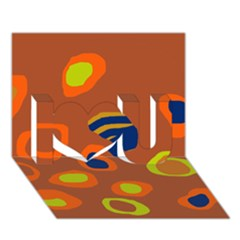 Orange Abstraction I Love You 3d Greeting Card (7x5)