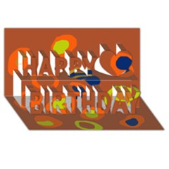 Orange Abstraction Happy Birthday 3d Greeting Card (8x4)