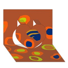 Orange Abstraction Heart 3d Greeting Card (7x5)