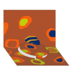 Orange Abstraction Circle Bottom 3d Greeting Card (7x5) by Valentinaart