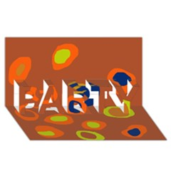 Orange Abstraction Party 3d Greeting Card (8x4) by Valentinaart