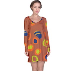 Orange Abstraction Long Sleeve Nightdress by Valentinaart