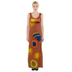 Orange Abstraction Maxi Thigh Split Dress by Valentinaart