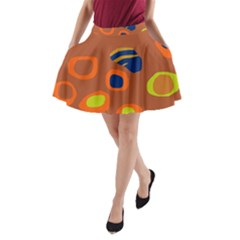 Orange Abstraction A-line Pocket Skirt by Valentinaart