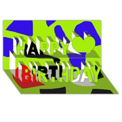 Green Abstraction Happy Birthday 3d Greeting Card (8x4) by Valentinaart