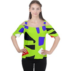Green Abstraction Women s Cutout Shoulder Tee by Valentinaart