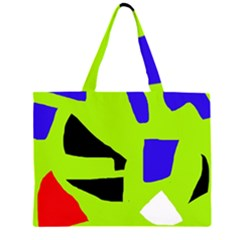 Green Abstraction Zipper Large Tote Bag by Valentinaart