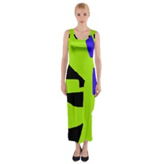Green Abstraction Fitted Maxi Dress by Valentinaart