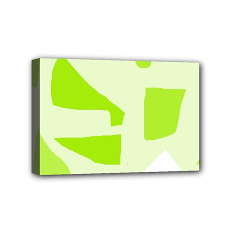 Green Abstract Design Mini Canvas 6  X 4  by Valentinaart
