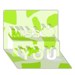 Green Abstract Design Miss You 3d Greeting Card (7x5) by Valentinaart