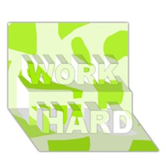 Green Abstract Design Work Hard 3d Greeting Card (7x5) by Valentinaart