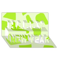 Green Abstract Design Happy New Year 3d Greeting Card (8x4) by Valentinaart