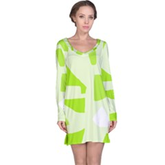 Green Abstract Design Long Sleeve Nightdress by Valentinaart